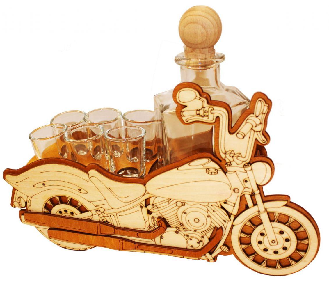 Dřevěný stojan na karafu a skleničky 6ks Motorka