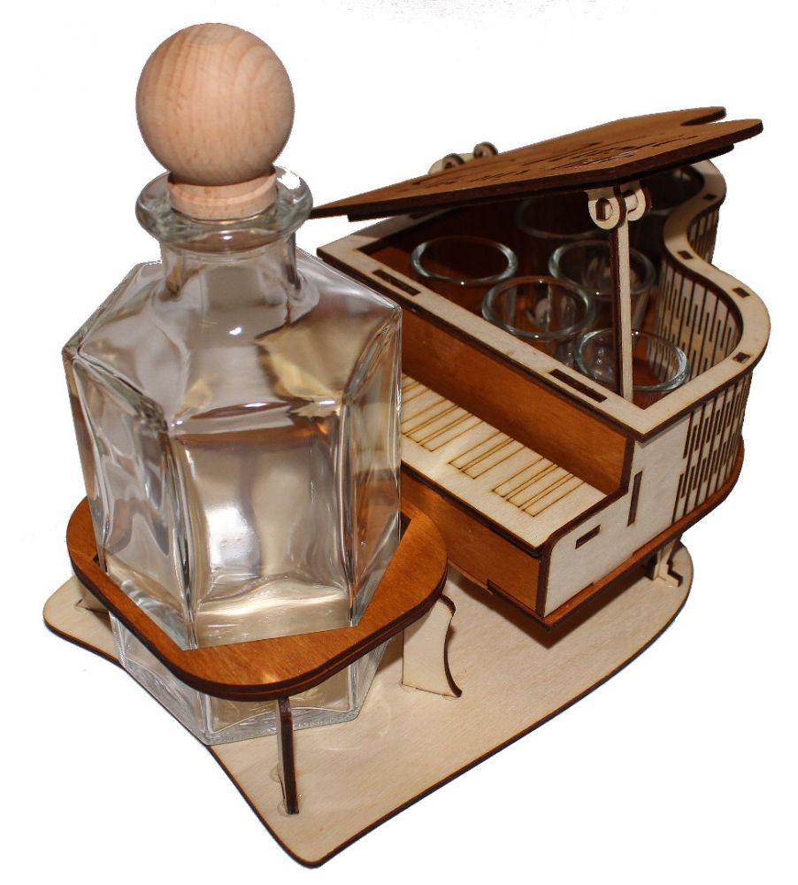 Dřevěný stojan na karafu a skleničky 6ks Piano