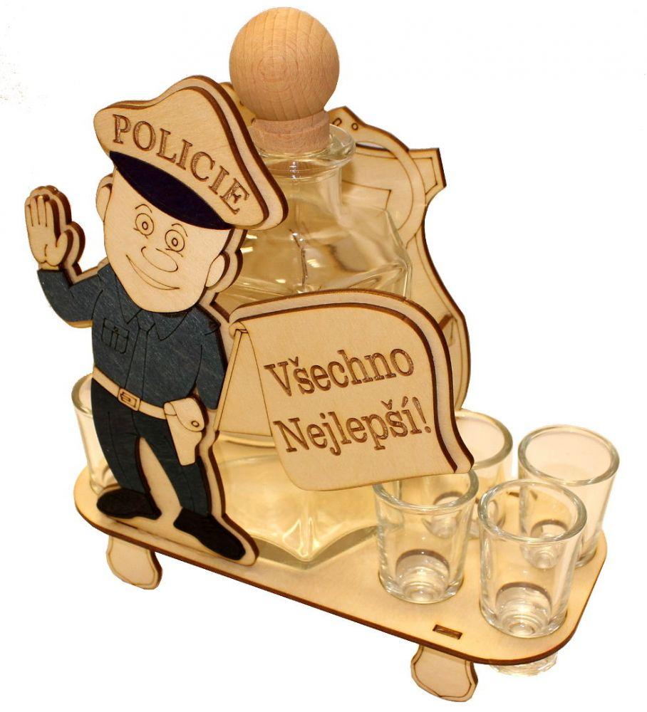 Dřevěný stojan na karafu a skleničky 6ks Policie - Všechno nejlepší