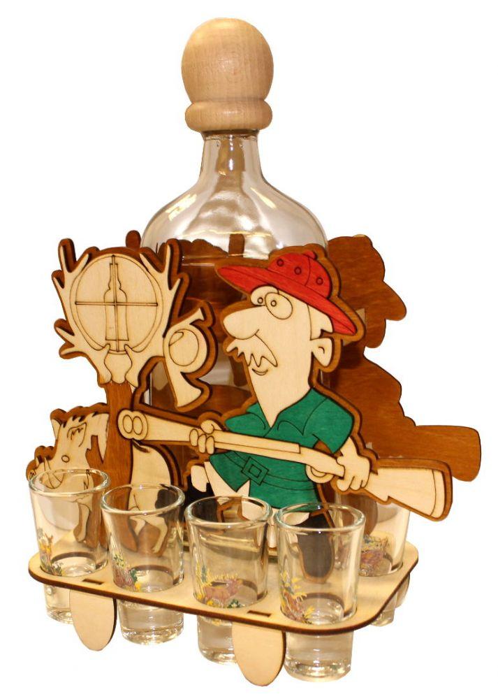 Dřevěný stojan na karafu a skleničky 6ks Myslivec