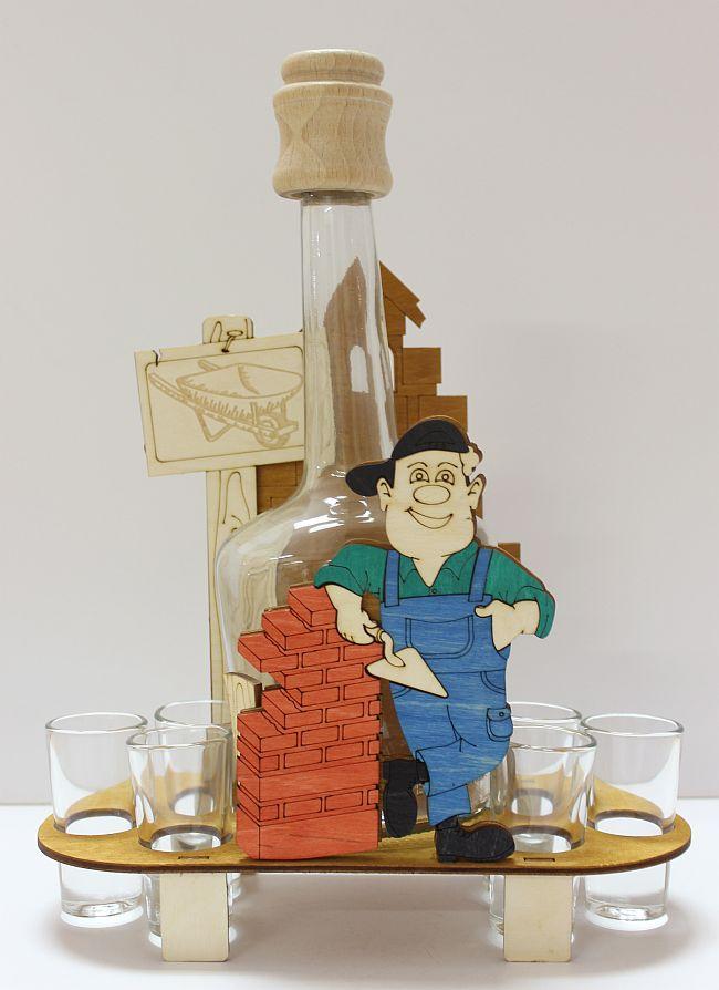 Dřevěný stojan na karafu a skleničky 6ks Zedník