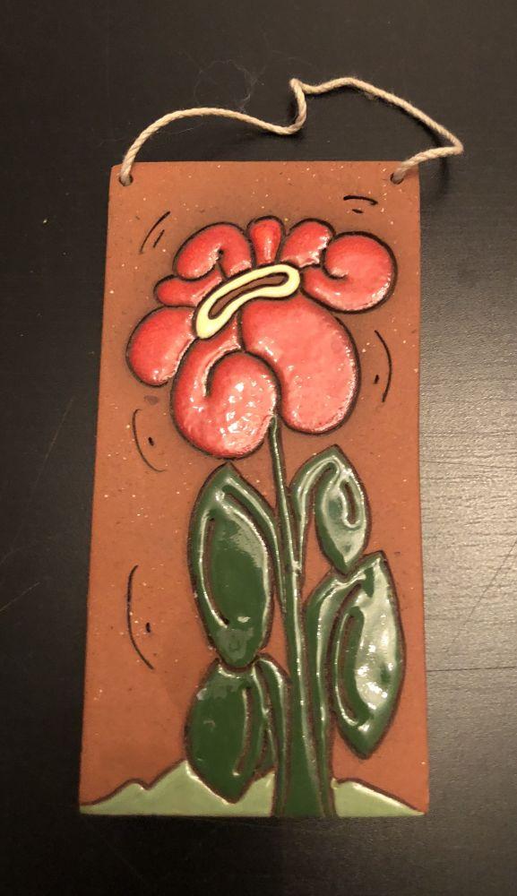 Keramický obrázek Květina k pověšení