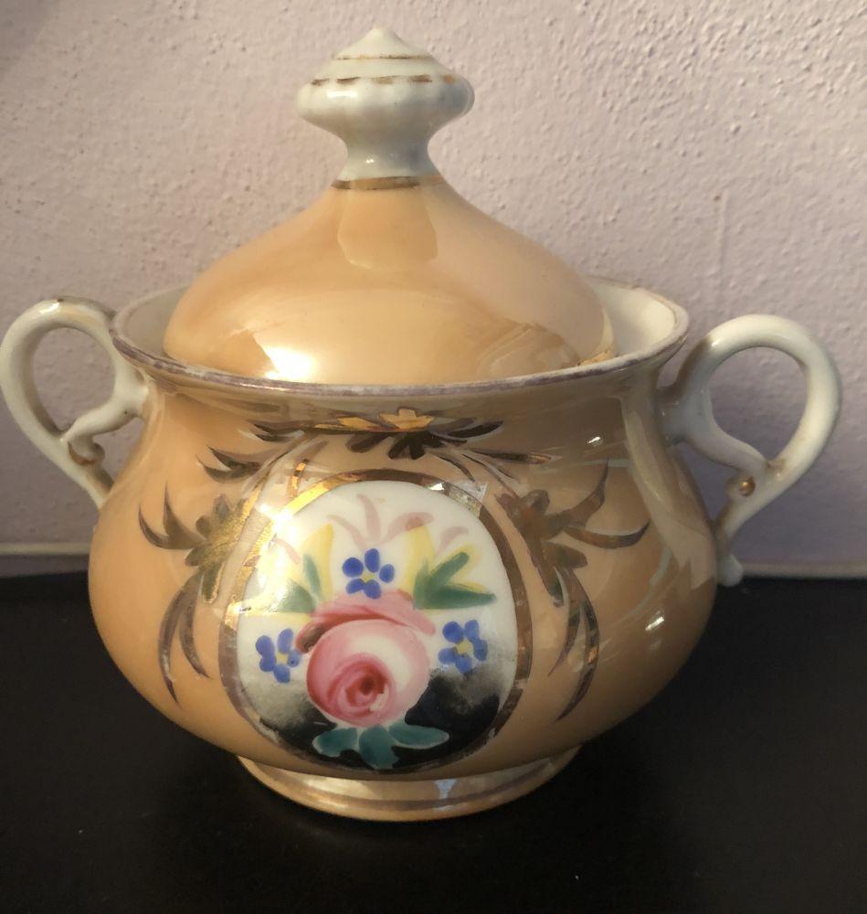 Porcelánová cukřenka ručně malovaná Béžová s růžičkou prodáno