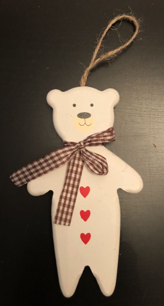 Vánoční dekorace Dřevěný medvídek k pověšení