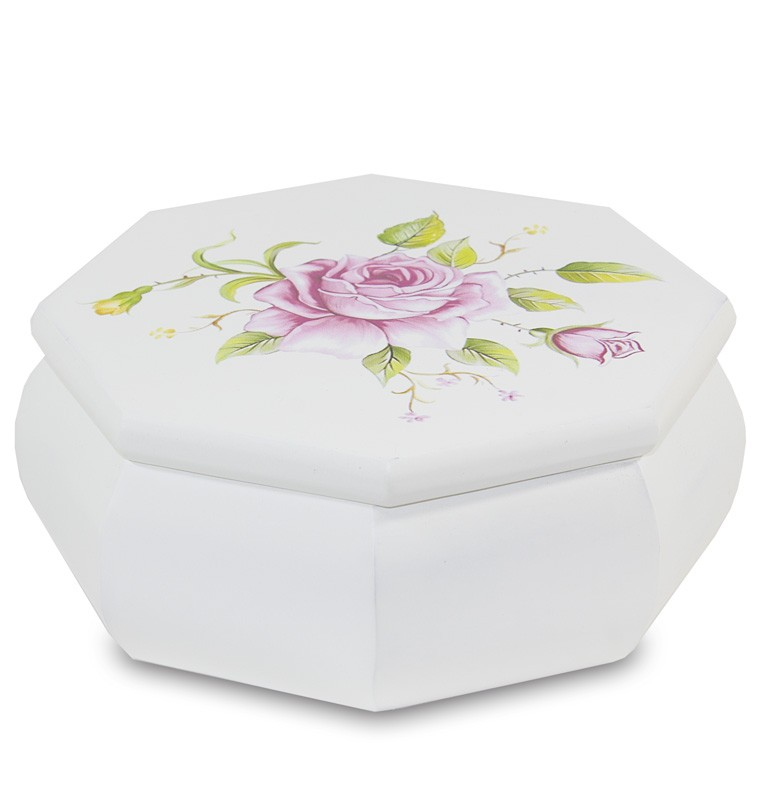 Dřevěná šperkovnice bílá s růžemi Mariánka