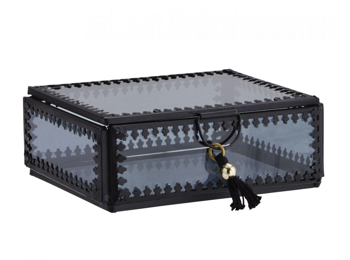 Skleněná krabička - šperkovnice Orient black