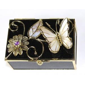 Skleněná šperkovnice s vitráží Motýl černá