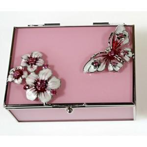 Skleněná šperkovnice s vitráží Motýl růžová