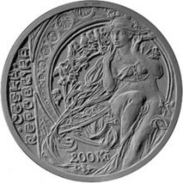 Stříbrná mince 200 Kč - 2010 150. výročí narození Alfons Mucha b.k.