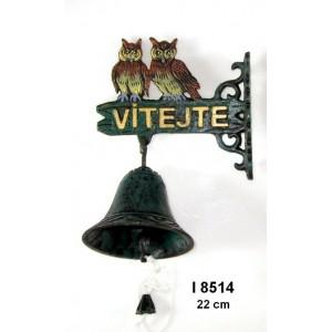 Litinový zvonek Vítejte Dvě sovy