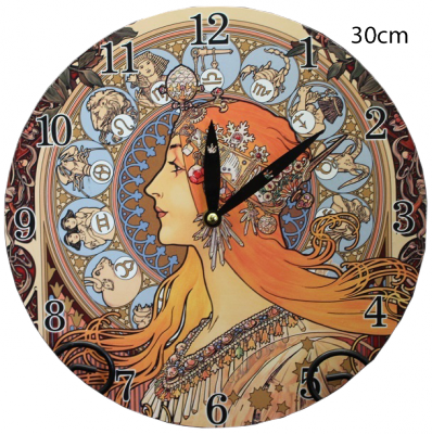 Hodiny na zeď Alfons Mucha Zodiak - horoskop