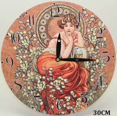 Hodiny na zeď Alfons Mucha Žena ve větvích
