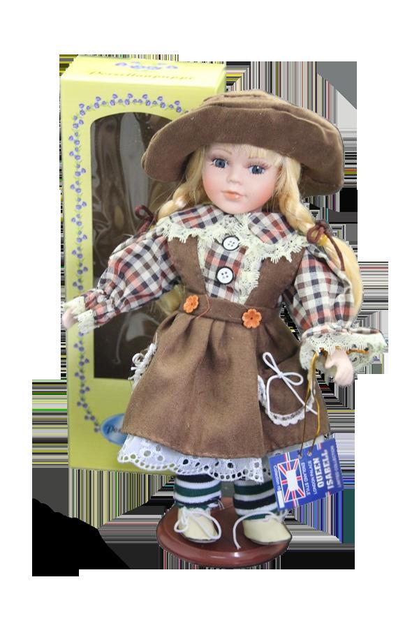 Porcelánová panenka Blondýnka s kloboučkem