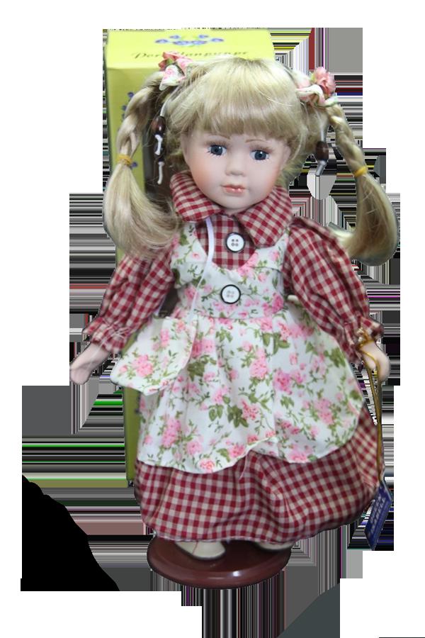 Porcelánová panenka Blondýnka v kostkovaných šatech