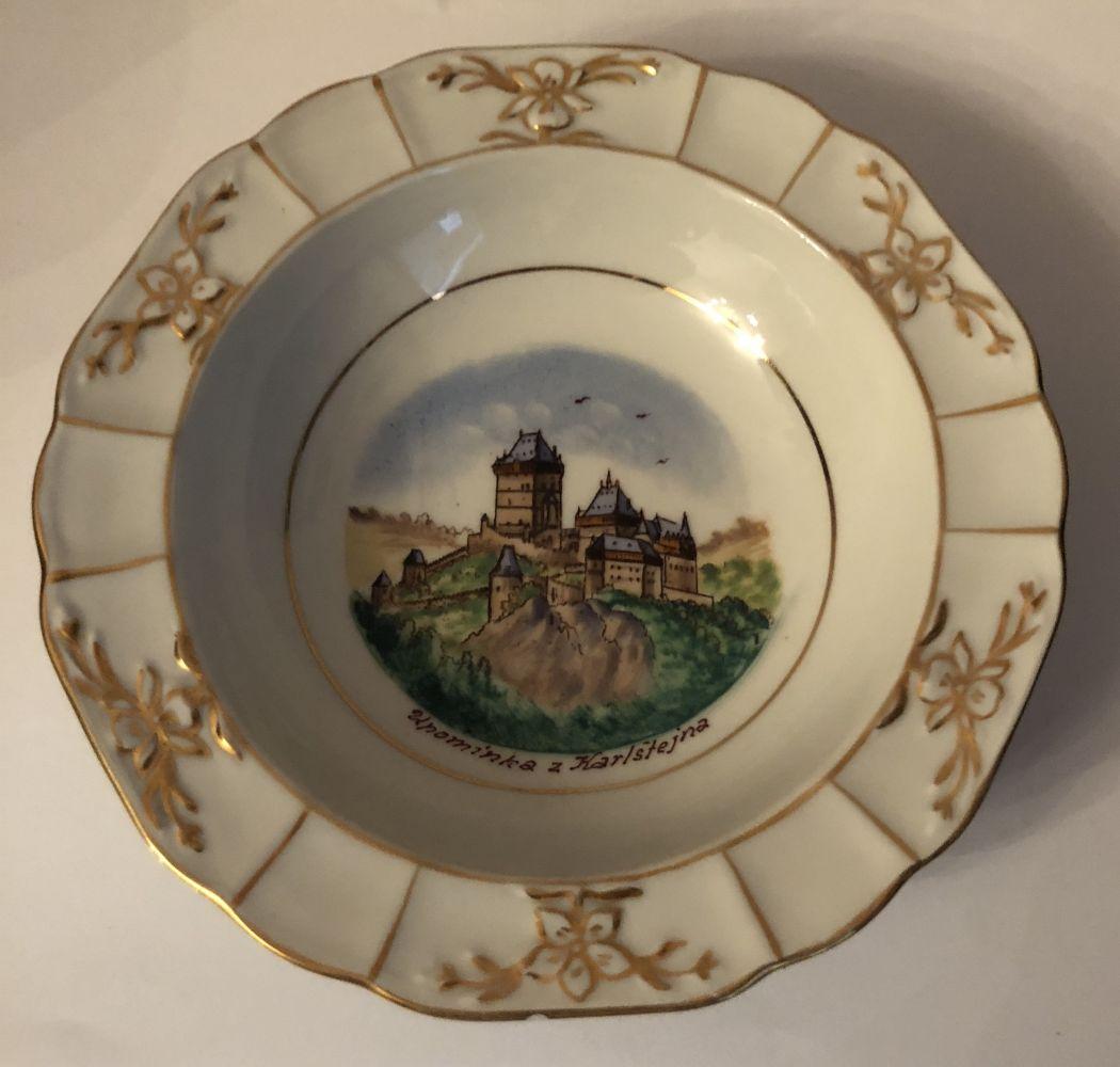 Starožitný porcelánový popelník - talířek Karlštejn