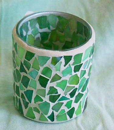Mozaikový svícen na svíčku Caramelwhite - kalíšek