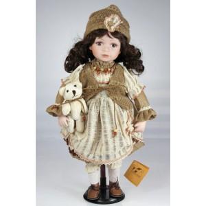 Porcelánová luxusní panenka Bruneta s medvídkem 45cm
