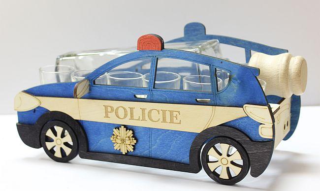 Dřevěný stojan na karafu a skleničky 6ks Policie - Auto