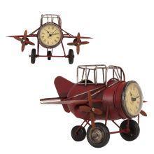 Kovové hodiny letadlo Aeroplán červené