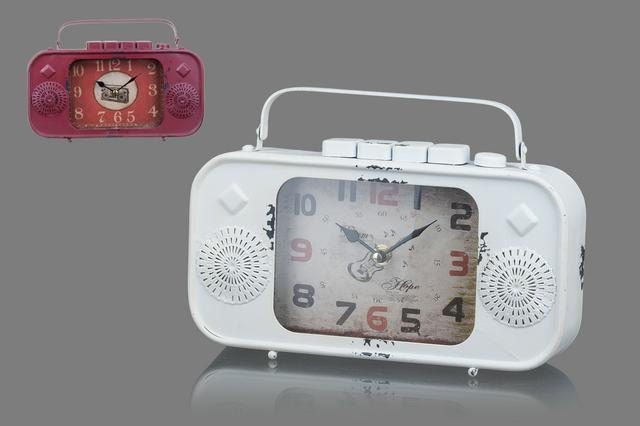Kovové hodiny Rádio bílé