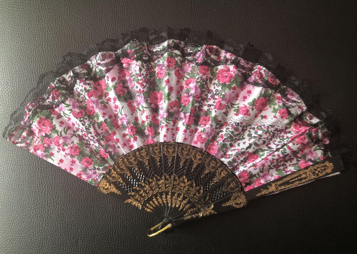 Vějíř látkový - Baroko Růžičky malé růžový