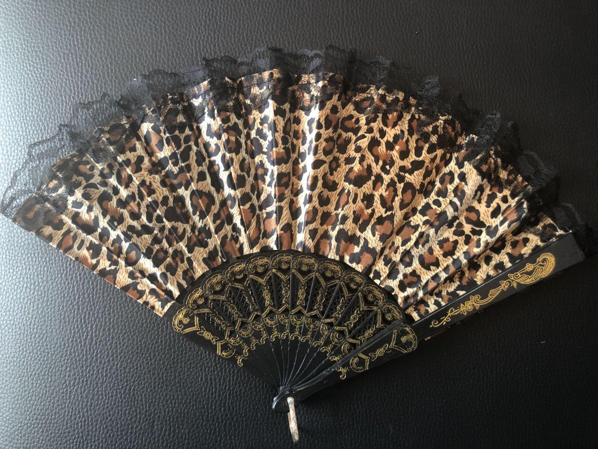 Vějíř látkový - Baroko Tygrovaný Khaki