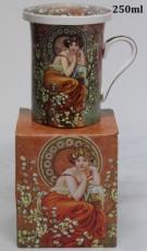 Porcelánový hrnek se sítkem Alfons Mucha Žena ve větvích