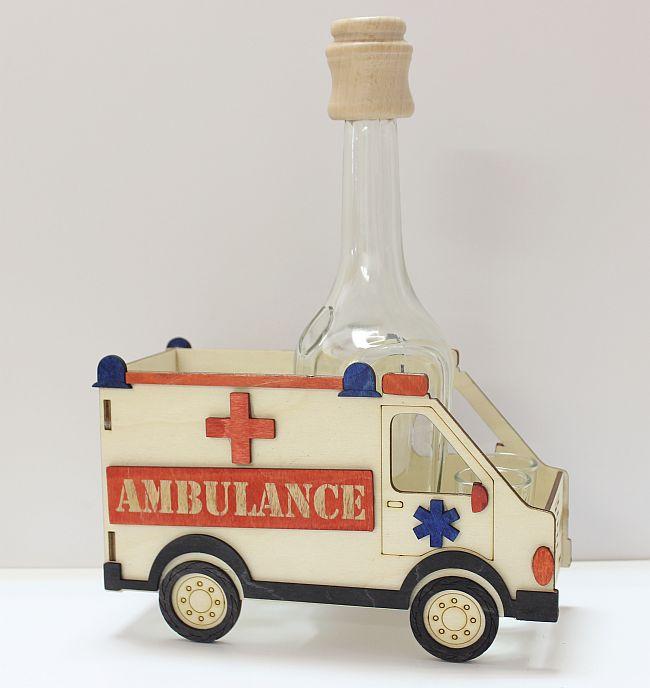 Dřevěný stojan na karafu a skleničky 6ks Ambulance