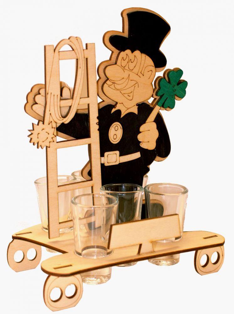 Dřevěný stojan na karafu a skleničky 6ks Kominík