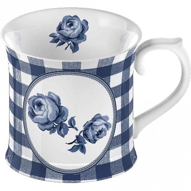 Porcelánový luxusní hrnek Bílý s růží kostka
