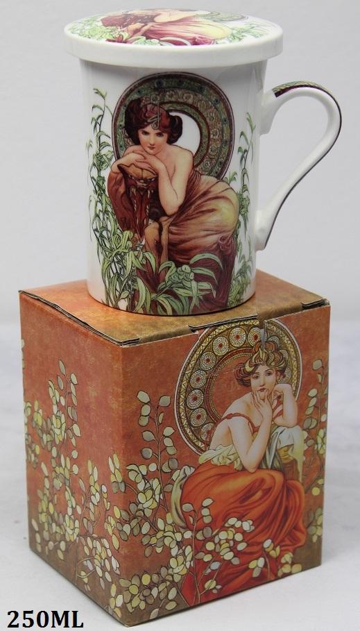 Porcelánový hrnek se sítkem Alfons Mucha Žena v rákosí