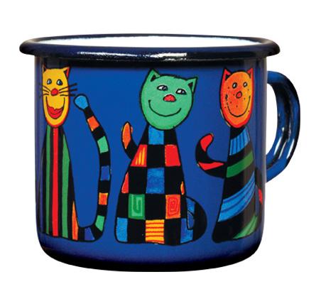 Smaltovaný hrneček 8cm Kočky modrý
