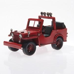 Plechový retro model Jeep červený