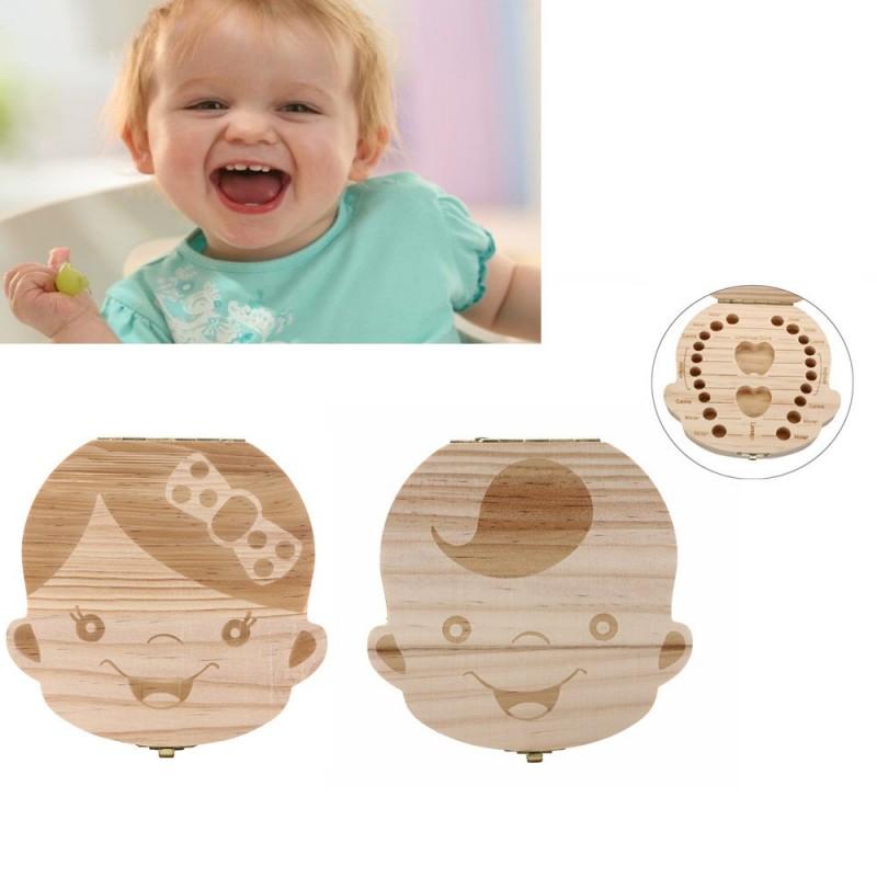 Dřevěná krabička na první zoubky pro holčičky -poškozeno