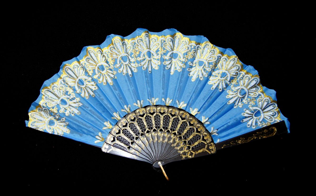 Vějíř látkový - Baroko Modrý azuro