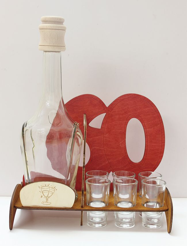 Dřevěný stojan na karafu a skleničky 6ks 60 výročí