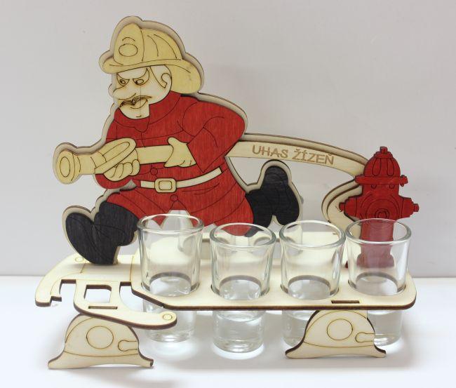 Dřevěný stojan na karafu a skleničky 6ks Hasič - Uhas žízeň