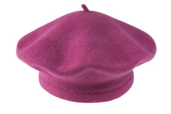 Vlněný baret malinový
