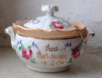 Porcelánová druhorokoková cukřenka Dalovice 19.stolručně malovaná signovaná