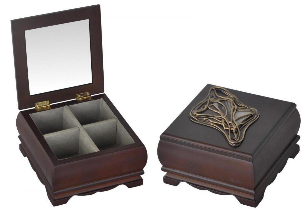 Dřevěná luxusní šperkovnice s vitráží čtverec