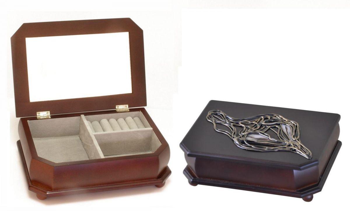 Dřevěná luxusní šperkovnice s vitráží větší