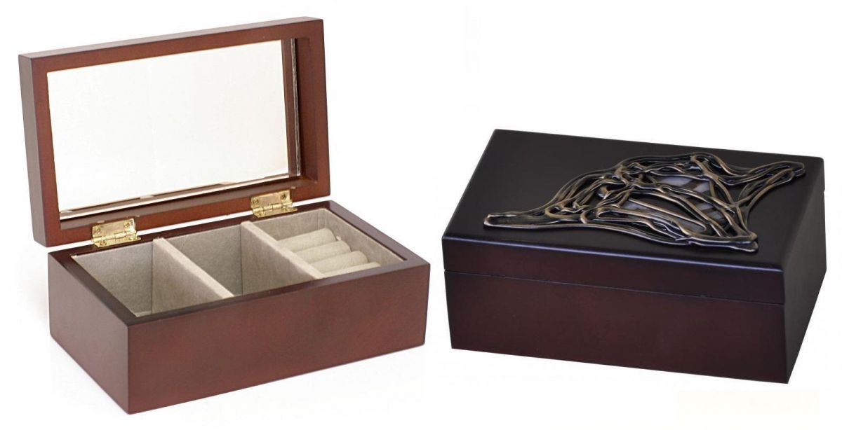 Dřevěná luxusní šperkovnice s vitráží obdélník