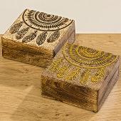 Dřevěná šperkovnice Lapač snů Gold