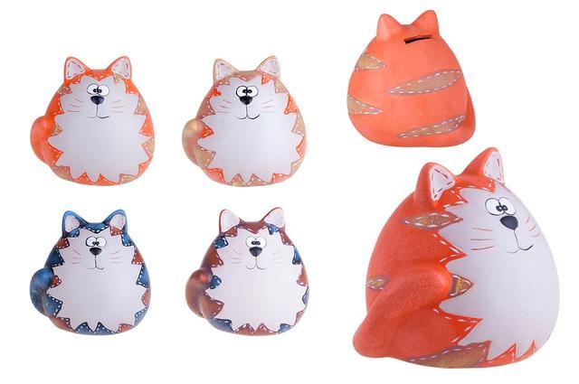 Keramická pokladnička kasička Kočka oranžová malá
