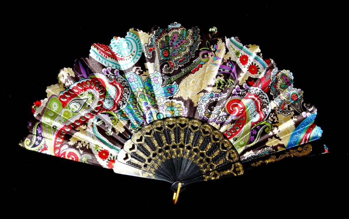Vějíř látkový - Baroko Džana černý
