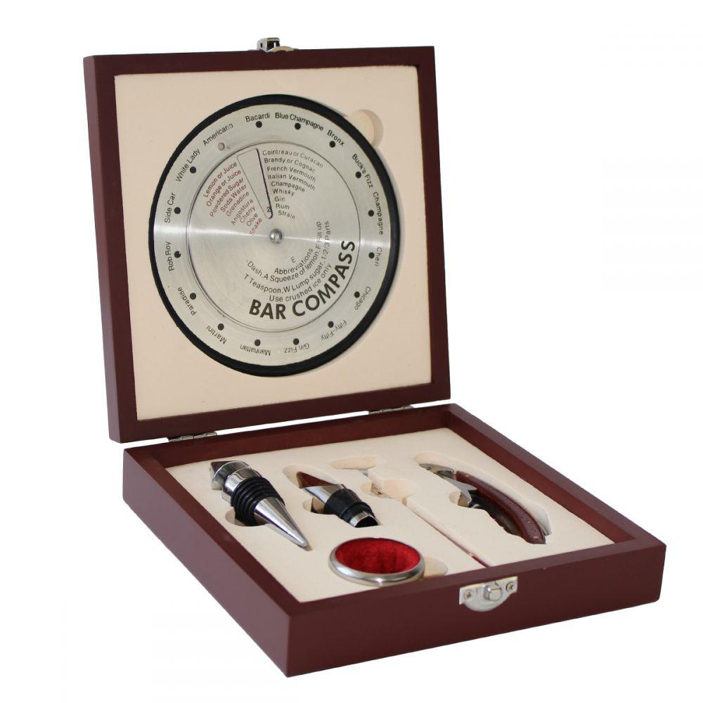 Dárková sada - box na vinařské potřeby S kompasem stříbrná