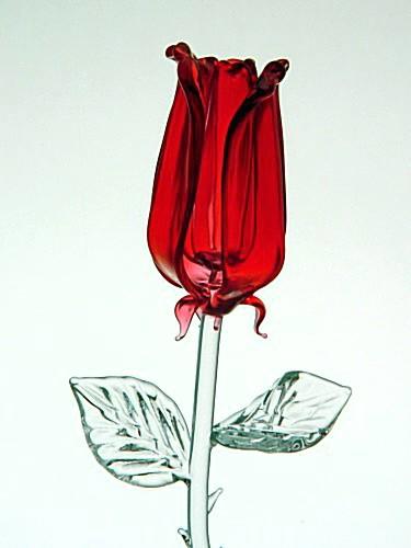 Skleněná růže red L