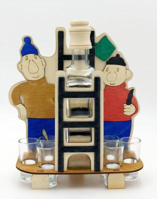 Dřevěný stojan na karafu a skleničky 6ks Pat a Mat