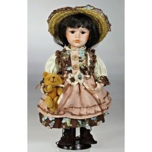 Porcelánová panenka Brunetka v kloboučku s medvídkem 30cm