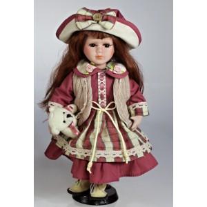 Porcelánová panenka Bordó vlasy i šatičky 30cm